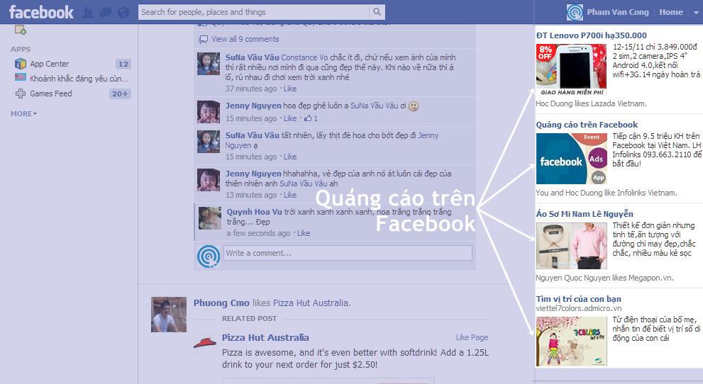 Mẫu quảng cáo truyền thống trên Facebook
