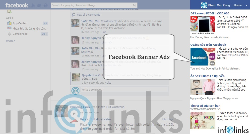 Hình thức quảng cáo thông thường trên Facebook (Facebook Banner Ads)