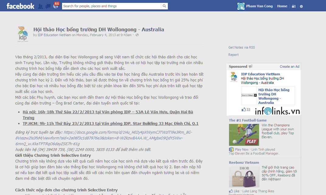 Facebook Sponsored Stories (Promoted Post) của IDP