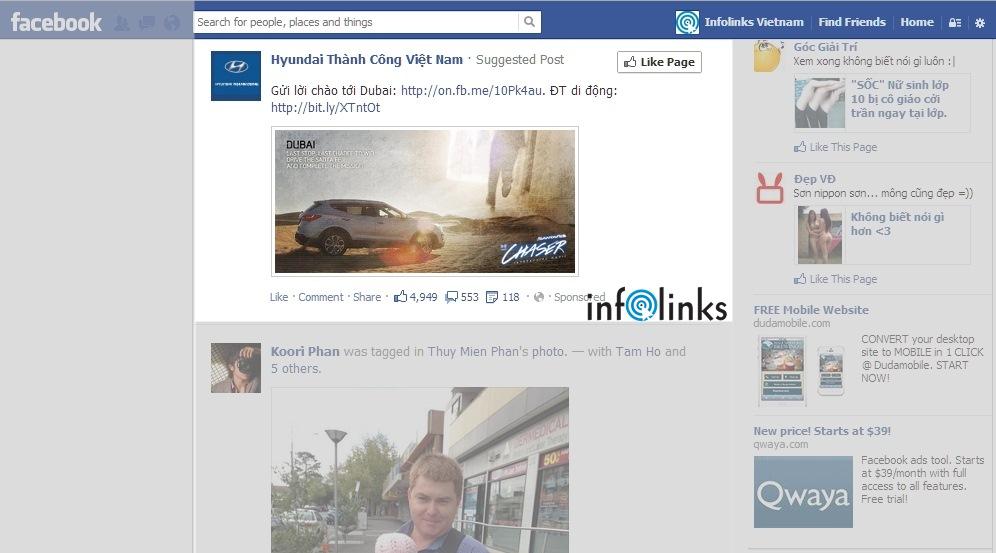 Quảng cáo Facebook Sponsored Story (Suggested Post) của Huyndai Thành Công hiển thị trong News Feed của Facebook