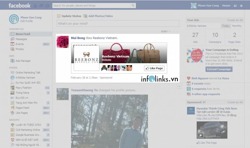Quảng cáo Thang hạng trang/Thu hút like của Fanpage Reebonz Vietnam