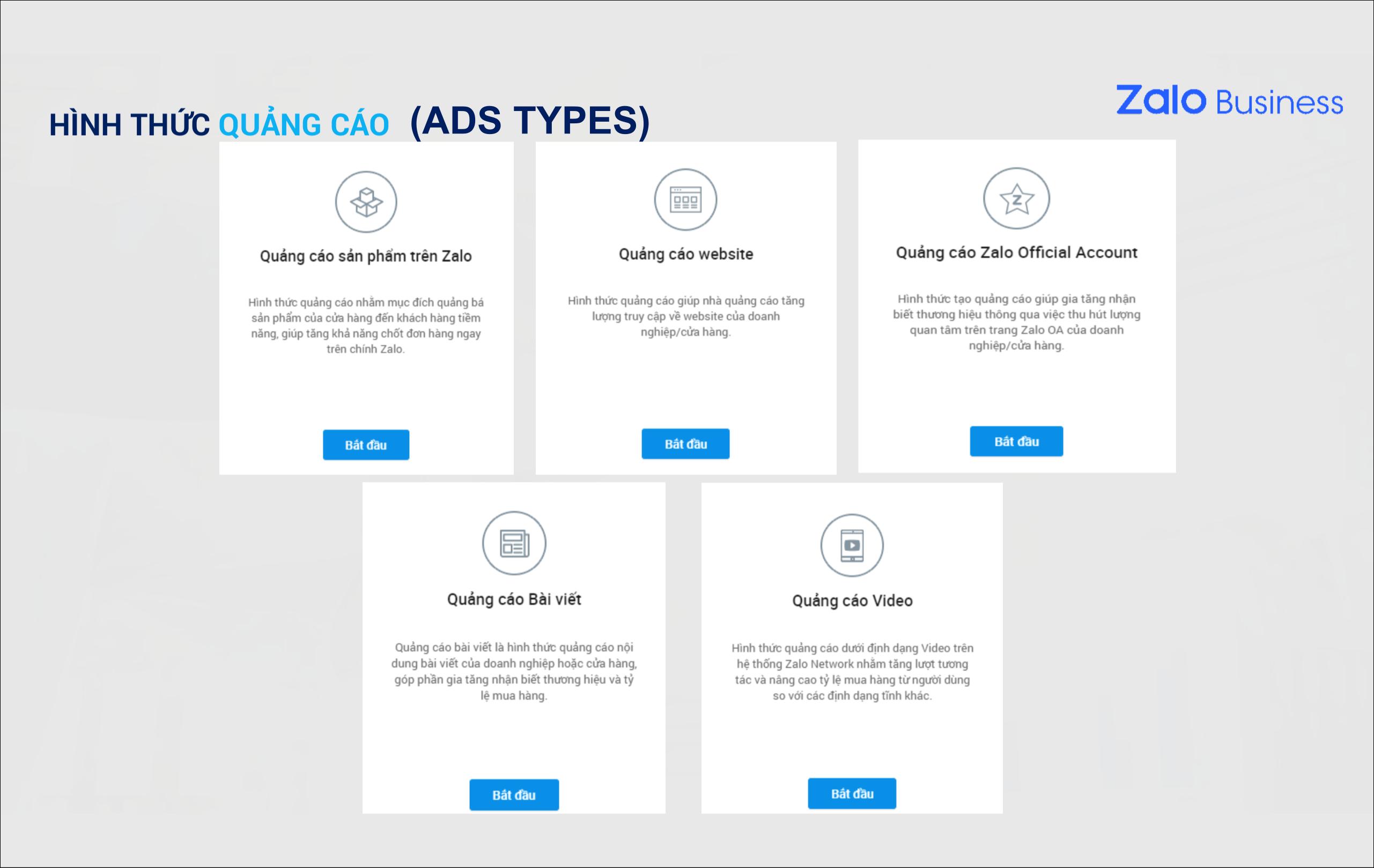 Zalo Ads Types