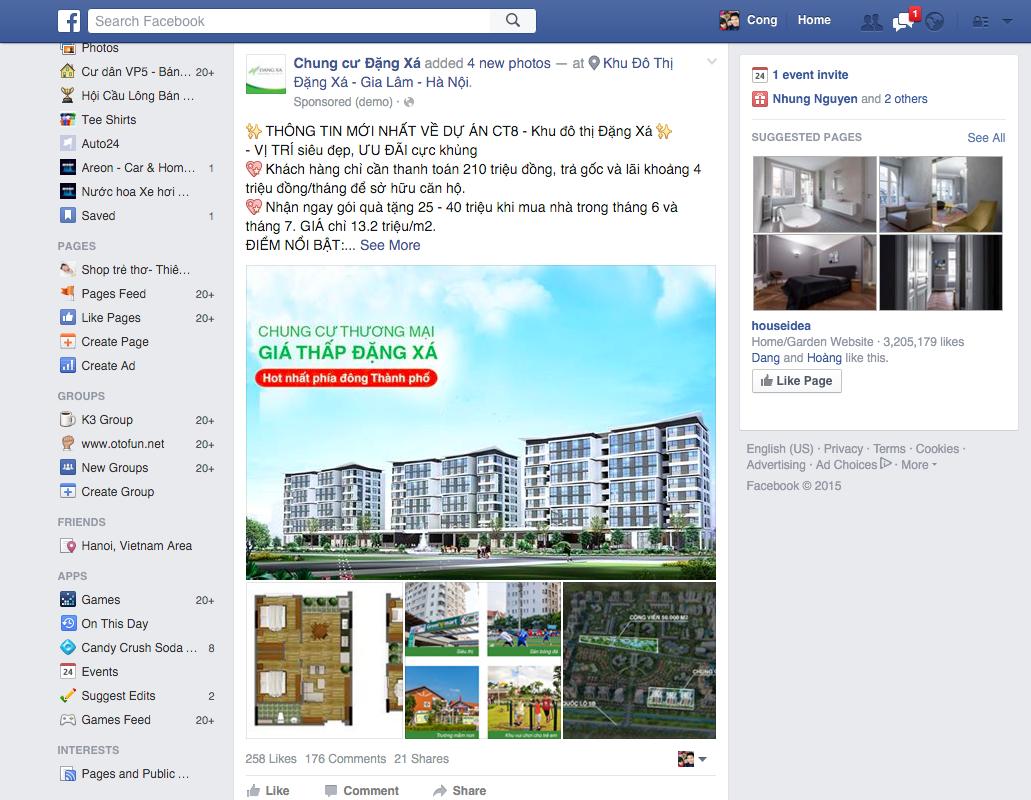 Quảng cáo bài viết trên Fanpage của Dự án Chung cư Đặng Xá