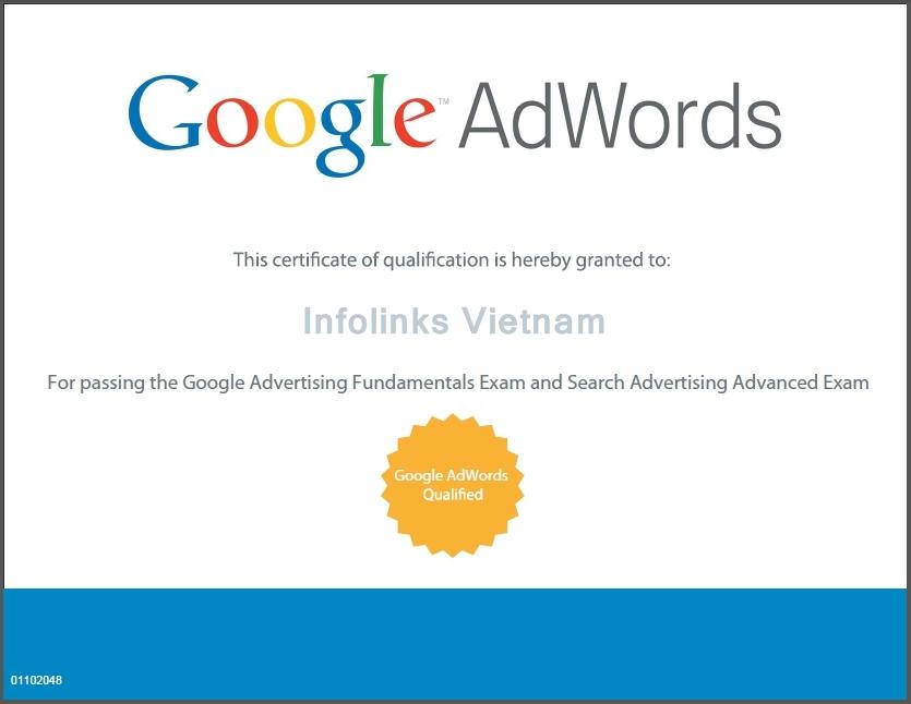 Infolinks Việt Nam đạt chứng chỉ Chuyên gia quảng cáo Google Adwords
