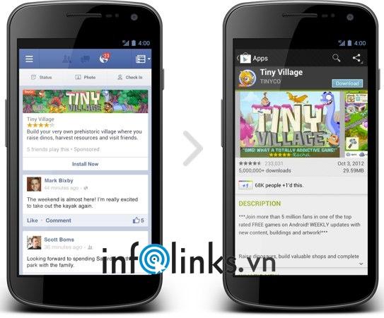 Quảng cáo Install Now trên ứng dụng Facebook di động (trên Android hoặc iOS)
