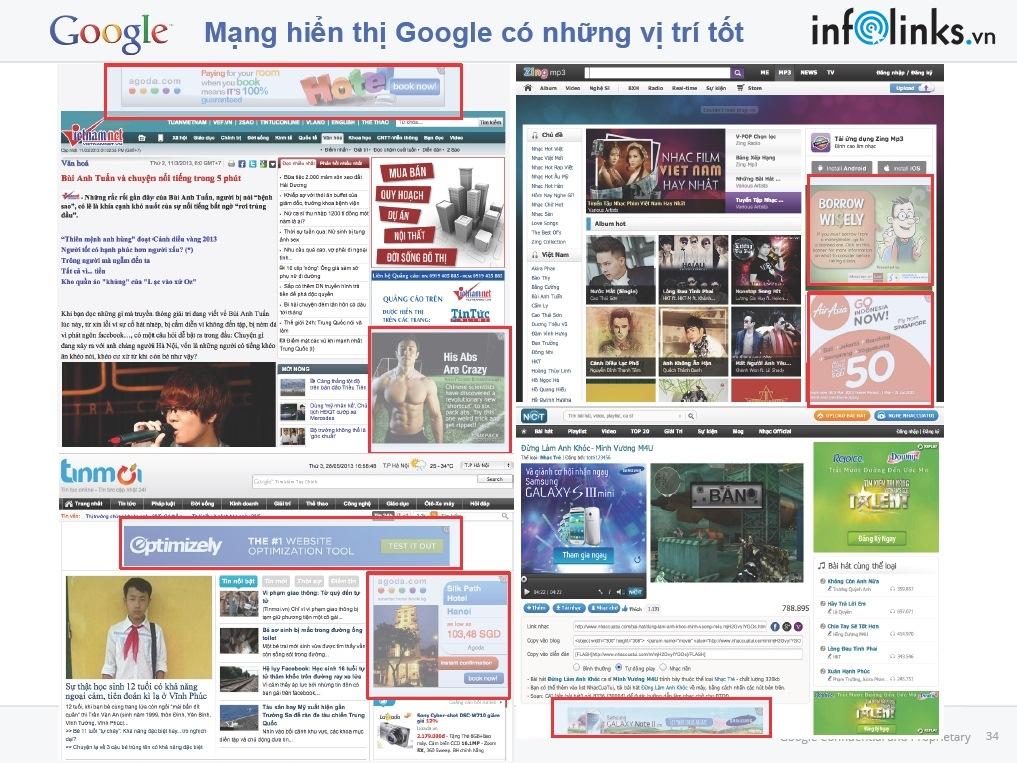 Các quảng cáo trên mạng hiển thị Google có vị trí tốt (được khoanh đỏ)