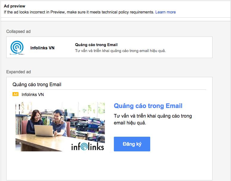 Mẫu quảng cáo trên Gmail