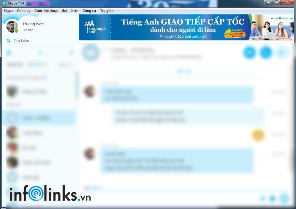 Quảng cáo Skype của Language Link do Infolinks thực hiện