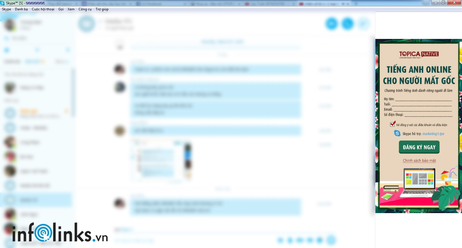 Quảng cáo Skype của Topica do Infolinks thực hiện
