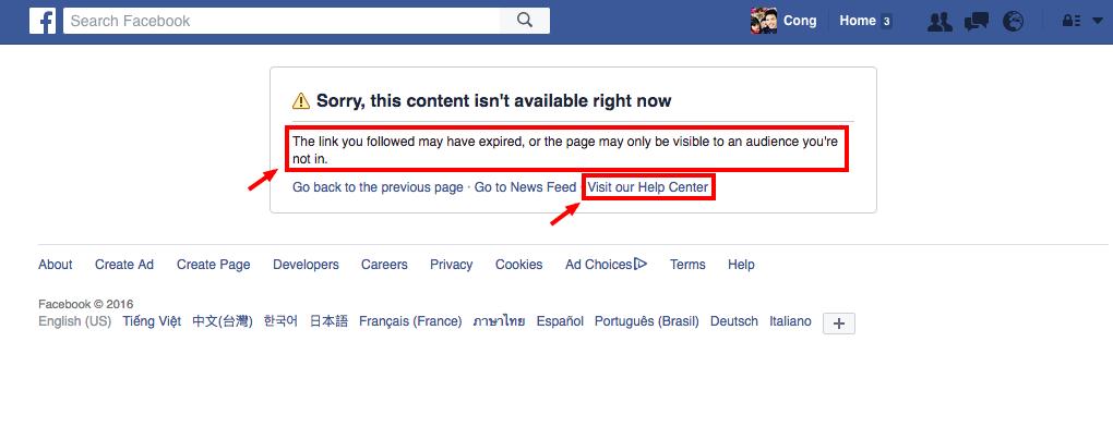Thông báo lỗi và Giải thích kèm Hướng dẫn của Facebook