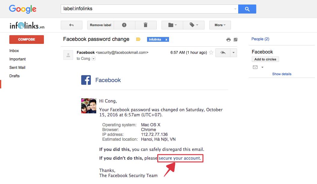 Email thông báo thay đổi mật khẩu tài khoản Facebook