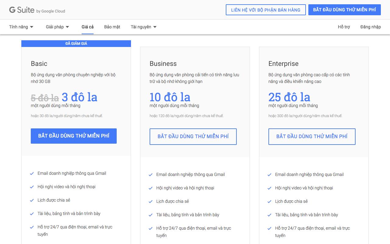 Các phiên bản G Suite bản quyền chính thức của Google.
